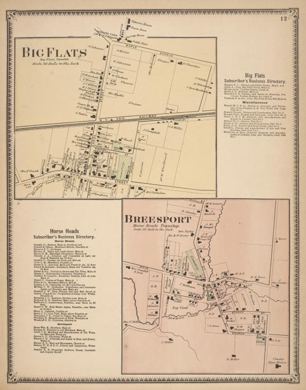 Big Flats [Village]; Big Flats Subscriber's Business Directory.; Horse Heads Subscriber's Business Directory.; Breesport [Village]