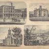 Partial View of Bristol Iron Works, Owego N.Y.; Union School, Candor Tioga Co. N.Y.; Cong Church, Candor Tioga Co. N.Y.; View on The Susquehanna above Owego
