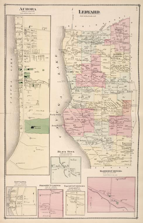 Aurora [Village]; Ledyard [Township]; Levanna [Village]; Black Rock [Village]; Prospect Corners [Village]; Talcotts Corners [Village]; Barbers Corners [Village]