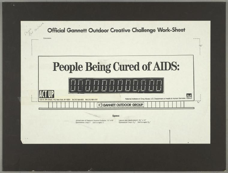 Official Gannett outdoor creative challenge work-sheet. People being cured by AIDS: 000,000,000,000.