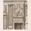 Design for chimney piece and mirror with two women and garlands.]