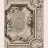 Design for a ceiling with cherubs holding flowers.]