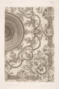 [Design for a ceiling with crowned heads in each corner.]