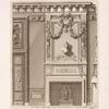 Design for chimney piece with bust of woman and garlands above.]