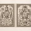 Two designs; one with roundel of enthroned Athena, one with bible scene.]