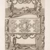 Designs for tables with elaborately carved supports; designs of heads.]
