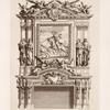 Design for a chimney piece with central equestrian portrait.]