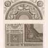 Designs for ceiling and tympanum, with roundels showing busts in profile.]