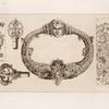 Designs for door-knocker and key handles.]