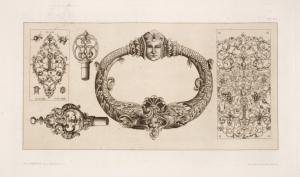 [Designs for door-knocker and key handles.]