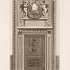 Design for doorway with two cherubs in projection above doorframe holding roundel with space for heraldric device.]