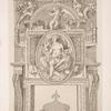 Design for a chimney piece with roundel of nude goddess and child on mantel.]