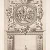 Design for a chimney piece with roundel of group surrounding a fire, possibly a religious ceremony.]