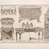 Ecritoire de cabinet qui porte deux chandeliers; commodes de deux desseins differens [sic]; serre-papier veu par le profil; [...]