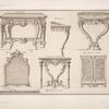 Grande table; table à jouer; table à mettre dans un brumeau; miroir de toillette; petite table de cabinet; petite armoire de cabinet.