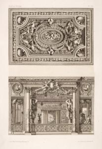 [Design for a ceiling decoration; scene of elaborately decorated interior.]