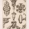 Designs for keyholes, doorknobs, pedestal.]