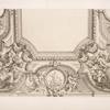 Design for half a ceiling decoration featuring allegorical female figures at each corner.]