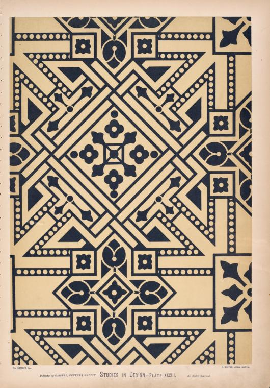 Ceiling-pattern in blue and white, suitable for a small, dark sitting-room.