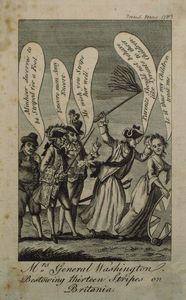 Mrs. General Washington, Bestowing Thirteen Stripes on Britania [sic].