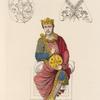 Figure de l'empereur Charles II. Peinte au frontispice d'une bible conservée au monastère de St. Calixte à Rome.
