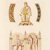 Ornements et figures tenant des instruments de musique, tirés de deux manuscrits de VIIe siècle.