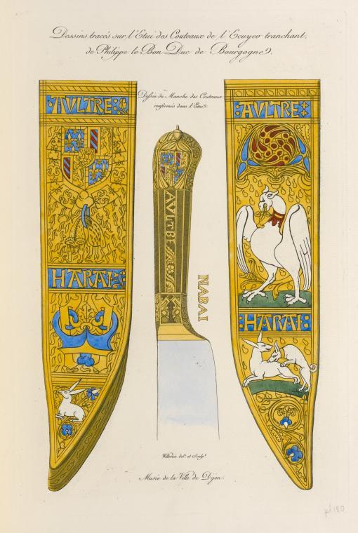 Messer eines burgundischen Vorschneiders (1468). Knauf  und Etui zeigen das Wappen Philipps des Guten. Zeichnung von 1839.