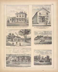 Res. of David C. Oatman, Angola, N.Y., County Clerk of Erie Co. ; Res. of James J. Ayer, Evans Centre, Erie Co., N.Y. ; Residence of Mrs. John Bedford, West Seneca. ; David C. Oatman, Angola, N.Y. Manufacturer of Clothing, Dealer in Dry Goods Groceries and General Merchandise also shipper of produce ; Res. of John Slada, Esq. Evans Tp. Erie Co., N.Y. ; Res. of M. G. Ingersoll, Evans Centre Erie Co., N.Y.