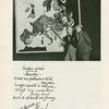 Voskovec a Werich před mapou Evropy (kterou kreslil A. Hoffmeister) ve své nové revui Caesar (Režie J. Honzl).