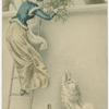 [Woman on ladder collecting mistletoe.]