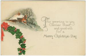 This greeting to you carries cheer and good will for a merry Christmas day.