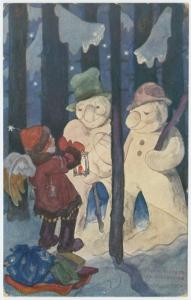 [Night scene with snowmen.]