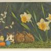 Rabbits, eggs and flowers.]