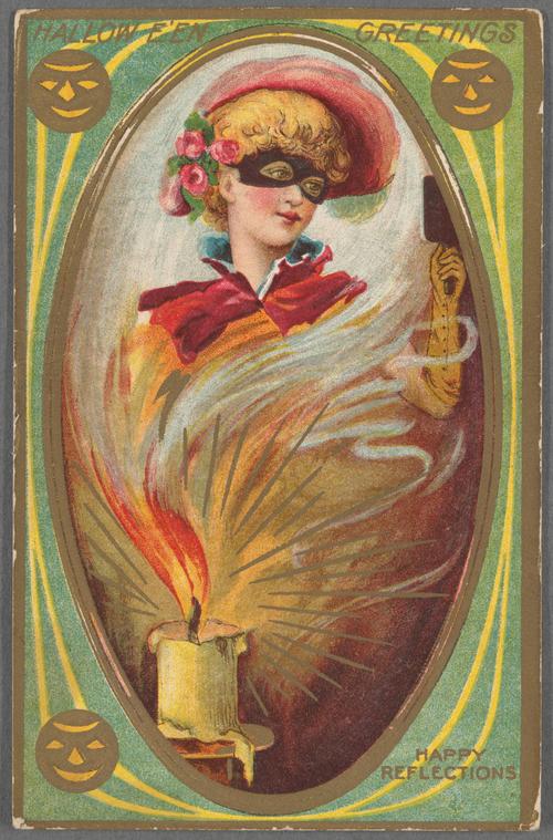 Vintage Halloween card of woman in costume