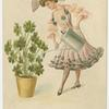 [Lady watering shamrocks.]
