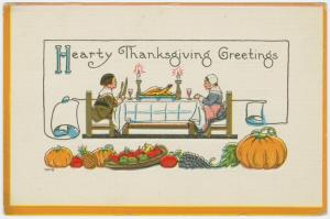 Vintage postcard: Hearty Thanksgiving greetings.