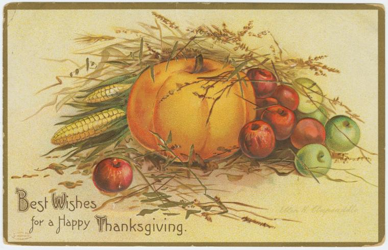 Vintage postcard: Best Wishes for a Happy Thanksgiving.