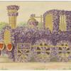 Train engine covered in flowers.]