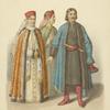 Odezhda boiaryshen pri Petre I (iz puteshestviia Fan Driuna); Odezhda boiarina s portreta kh. Repnina.
