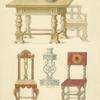 Stol, chast skami, 2 stula i podsvechnik risovany v gorode Aleksandrove, Vlad. Vladimirskoi] gub. [gubernii] 1841 g. 1842.