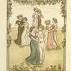 [Girls dancing under garland of flowers.]