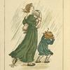 [Woman with children in rain.]
