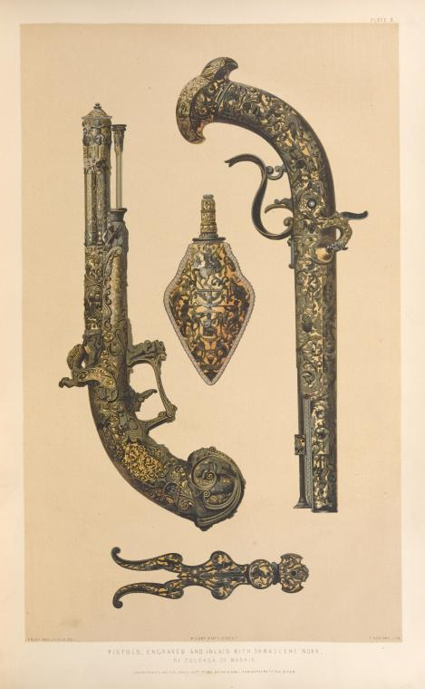 Pistols, engraved and inlaid with Damascene work, by Zuloaga of Madrid.