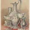 A group of objects in glass - cut and engraved. Consisting of an engraved claret, and cut cream jug by Green of London - a Venetian champagne and an engraved ale glass by Bacchus of Birmingham - and an engraved claret glass and cut salt cellar by Apsley Pellatt of London.