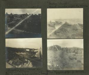"""Frank E. Downs. Trip to Nome, Alaska, May to Sept. 1900: Frank's camp; """"Gopher"""" beach - beach washed rough by miners; Cemetery near Nome. See cross on horizon. Ice 10 inches below surface in summer; Sod houses near edge of tundra."""