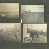 """Frank E. Downs. Trip to Nome, Alaska, May to Sept. 1900: Looking across Snake River to Anvil Mts.; """"In line"""" at temporary post office waiting for the mail. The trench at right holds wooden pipe being laid (1900) for Nome waterworks; Street in Nome. Dog team; Front Street, Nome. """"Lawyer Green"""" and office in foreground. """"Freshly picked bananas"""". Small boy."""
