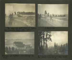 "Frank E. Downs. Trip to Nome, Alaska, May to Sept. 1900: ""So say we all"" Taking lighter for return boat, the Ohio; Likewise; Horses on lighter, returning to ship; In ""God's Country"" once more."