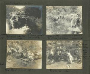 Same, at Geyser Spring Falls, 1898. Lucy, Eva, Peggy, Patsy, Mrs. Riddick. Person perched on rock (Stanley); Same party, walking a plank, exploring, flower gathering; Same, Frank is in it again; Frank is modest. Camping party in Guadaloupe Mts., after ferns.