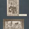 I. Miniaturblatt von Schah Kasim aus einem Nizami von 1604; II. Fath Ali Schah auf der Jagd, persischer Lackeinband.
