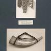 Geschnitzte Elfenbeinplatte; Holzschnitzereien; Olifant mit Schnitzerei.